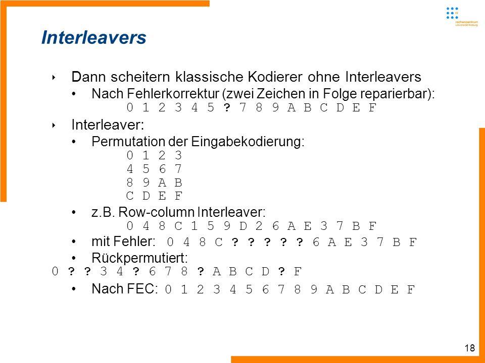 18 Interleavers Dann scheitern klassische Kodierer ohne Interleavers Nach Fehlerkorrektur (zwei Zeichen in Folge reparierbar): 0 1 2 3 4 5 .