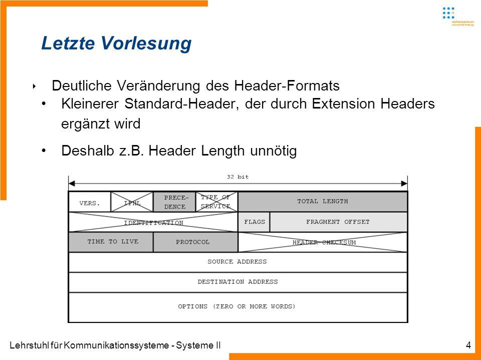 Lehrstuhl für Kommunikationssysteme - Systeme II4 Letzte Vorlesung Deutliche Veränderung des Header-Formats Kleinerer Standard-Header, der durch Extension Headers ergänzt wird Deshalb z.B.