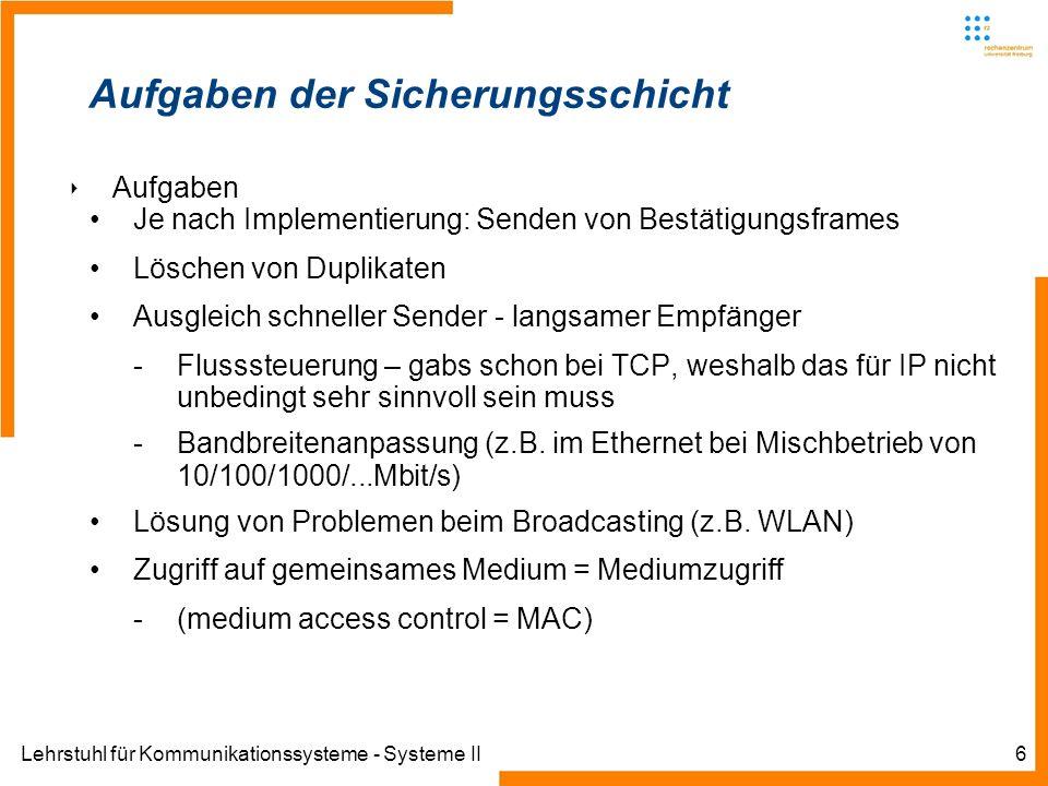 Lehrstuhl für Kommunikationssysteme - Systeme II6 Aufgaben der Sicherungsschicht Aufgaben Je nach Implementierung: Senden von Bestätigungsframes Löschen von Duplikaten Ausgleich schneller Sender - langsamer Empfänger -Flusssteuerung – gabs schon bei TCP, weshalb das für IP nicht unbedingt sehr sinnvoll sein muss -Bandbreitenanpassung (z.B.
