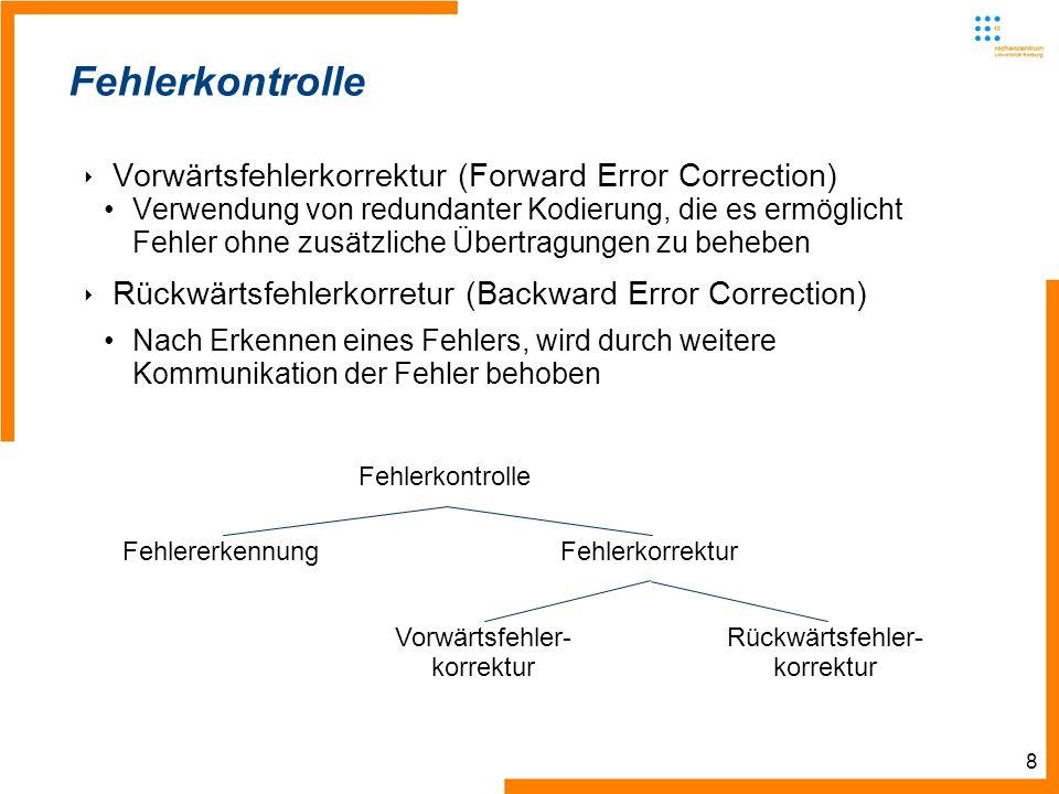 8 Fehlerkontrolle Vorwärtsfehlerkorrektur (Forward Error Correction) Verwendung von redundanter Kodierung, die es ermöglicht Fehler ohne zusätzliche Übertragungen zu beheben Rückwärtsfehlerkorretur (Backward Error Correction) Nach Erkennen eines Fehlers, wird durch weitere Kommunikation der Fehler behoben Fehlerkontrolle FehlererkennungFehlerkorrektur Vorwärtsfehler- korrektur Rückwärtsfehler- korrektur