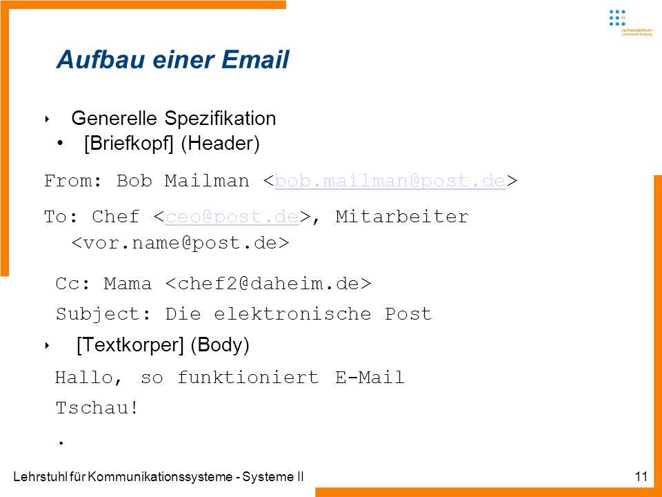 Lehrstuhl für Kommunikationssysteme - Systeme II11 Aufbau einer Email Generelle Spezifikation [Briefkopf] (Header) From: Bob Mailman bob.mailman@post.