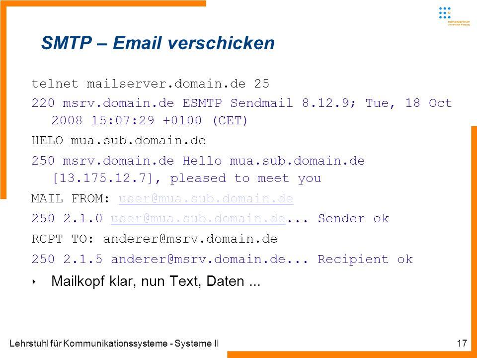 Lehrstuhl für Kommunikationssysteme - Systeme II17 SMTP – Email verschicken telnet mailserver.domain.de 25 220 msrv.domain.de ESMTP Sendmail 8.12.9; T