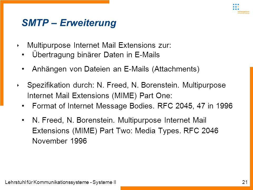 Lehrstuhl für Kommunikationssysteme - Systeme II21 SMTP – Erweiterung Multipurpose Internet Mail Extensions zur: Übertragung binärer Daten in E-Mails