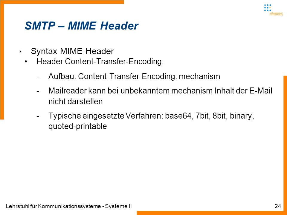 Lehrstuhl für Kommunikationssysteme - Systeme II24 SMTP – MIME Header Syntax MIME-Header Header Content-Transfer-Encoding: -Aufbau: Content-Transfer-E