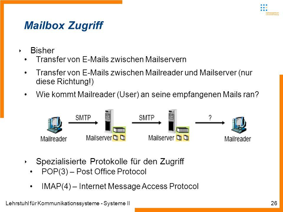 Lehrstuhl für Kommunikationssysteme - Systeme II26 Mailbox Zugriff Bisher Transfer von E-Mails zwischen Mailservern Transfer von E-Mails zwischen Mail