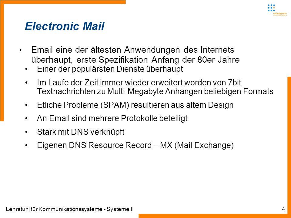 Lehrstuhl für Kommunikationssysteme - Systeme II15 SMTP Problem: Daten werden generell unverschlüsselt übertragen Sämtliche E-Mails müssen in 7-Bit US-ASCII codiert werden können.