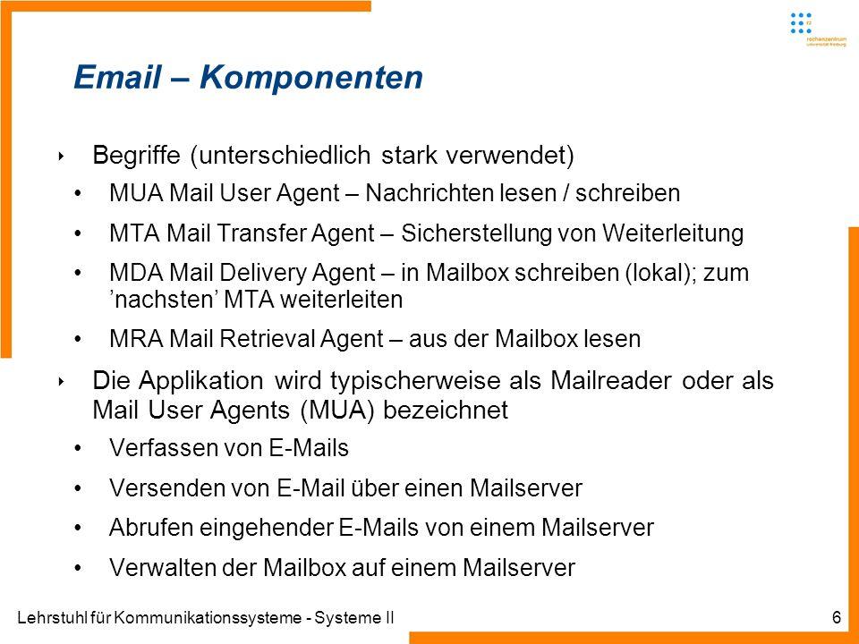 Lehrstuhl für Kommunikationssysteme - Systeme II7 Email – Komponenten Mailreader (MUA) Verfassen von E-Mails Versenden von E-Mail über einen Mailserver Abrufen eingehender E-Mails von einem Mailserver Verwalten der Mailbox auf einem Mailserver