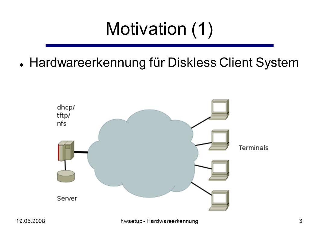 19.05.2008hwsetup - Hardwareerkennung4 Bootvorgang Terminal DHCP/PXE der Netzwerkkarte tftp download des Kernel/initial RAM Disk Laden Kernel Laden Initrd (busybox) * rootfs per nfs einbinden Startvorgang init V * * Hardwareerkennung möglich