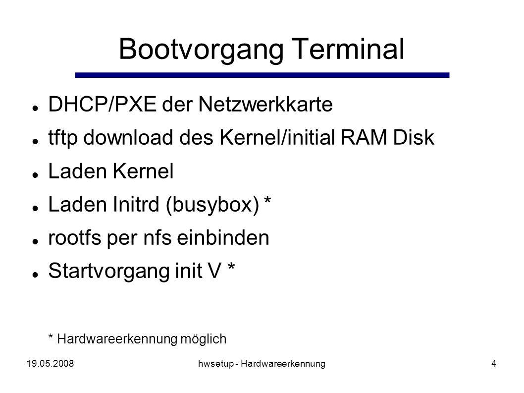 19.05.2008hwsetup - Hardwareerkennung5 Motivation (2) speichersparend und kompakt portabel und flexibel, damit universell einsetzbar einfache Implementierung für einfach Erweiterbarkeit auf Standards basierend, Vermeidung von Abhängigkeiten an Kernelpatchs oder Bibliotheken schnelle Erkennungsgeschwindigkeit
