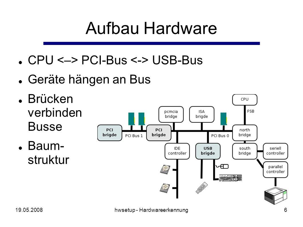 19.05.2008hwsetup - Hardwareerkennung6 Aufbau Hardware CPU PCI-Bus USB-Bus Geräte hängen an Bus Brücken verbinden Busse Baum- struktur