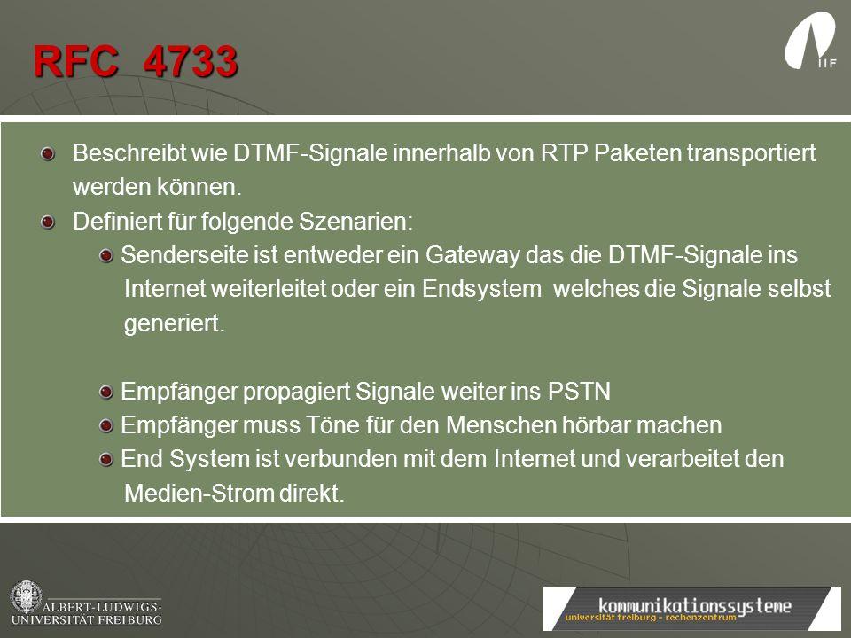 RFC 4733 Beschreibt wie DTMF-Signale innerhalb von RTP Paketen transportiert werden können. Definiert für folgende Szenarien: Senderseite ist entweder