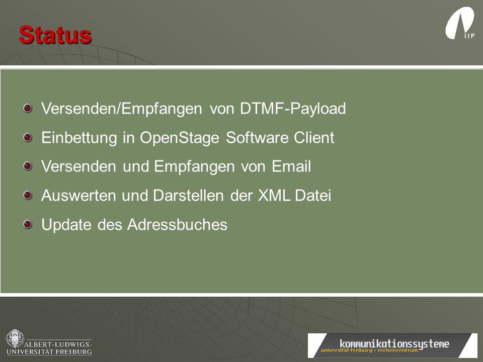 Status Versenden/Empfangen von DTMF-Payload Einbettung in OpenStage Software Client Versenden und Empfangen von Email Auswerten und Darstellen der XML
