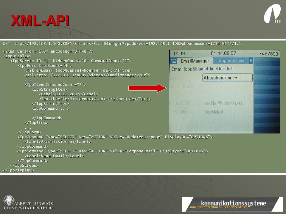 XML-API GET http://192.168.1.100:8085/Siemens/EmailManager?ipaddress=192.168.1.100&phonenumber=1234 HTTP/1.1 <IppDisplay> Email (pop@daniel-hoefler.de