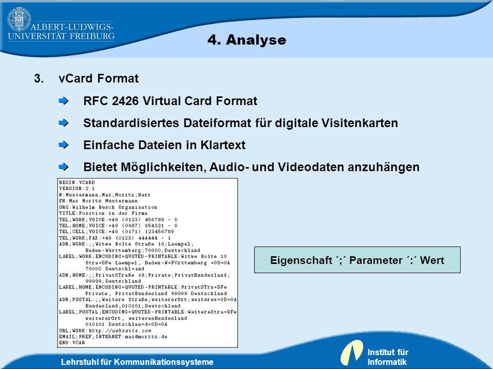 Lehrstuhl für Kommunikationssysteme Institut für Informatik 3.vCard Format RFC 2426 Virtual Card Format Standardisiertes Dateiformat für digitale Visi