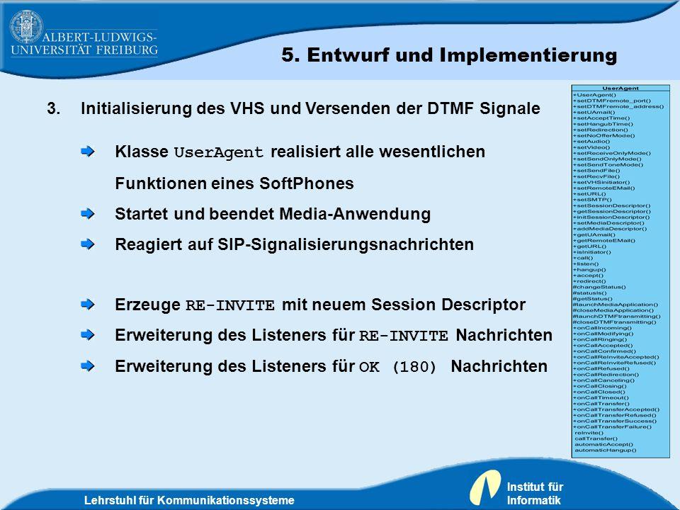 Lehrstuhl für Kommunikationssysteme Institut für Informatik 3.Initialisierung des VHS und Versenden der DTMF Signale Klasse UserAgent realisiert alle