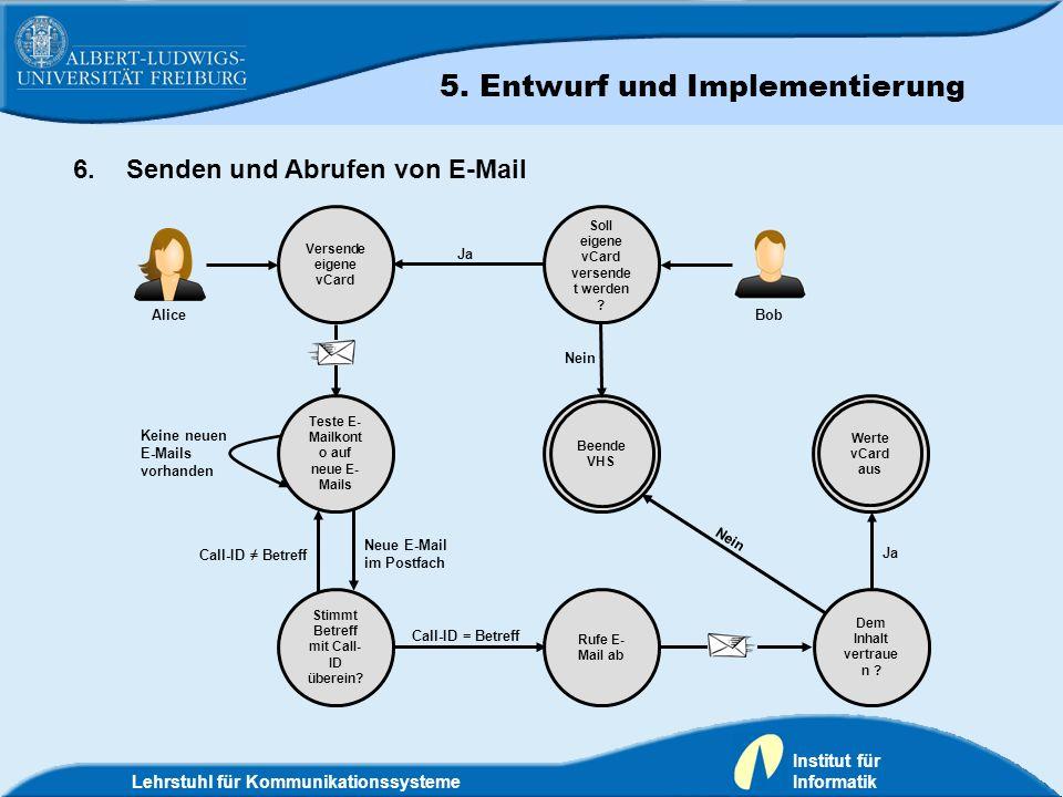 Lehrstuhl für Kommunikationssysteme Institut für Informatik 6.Senden und Abrufen von E-Mail Soll eigene vCard versende t werden ? Versende eigene vCar