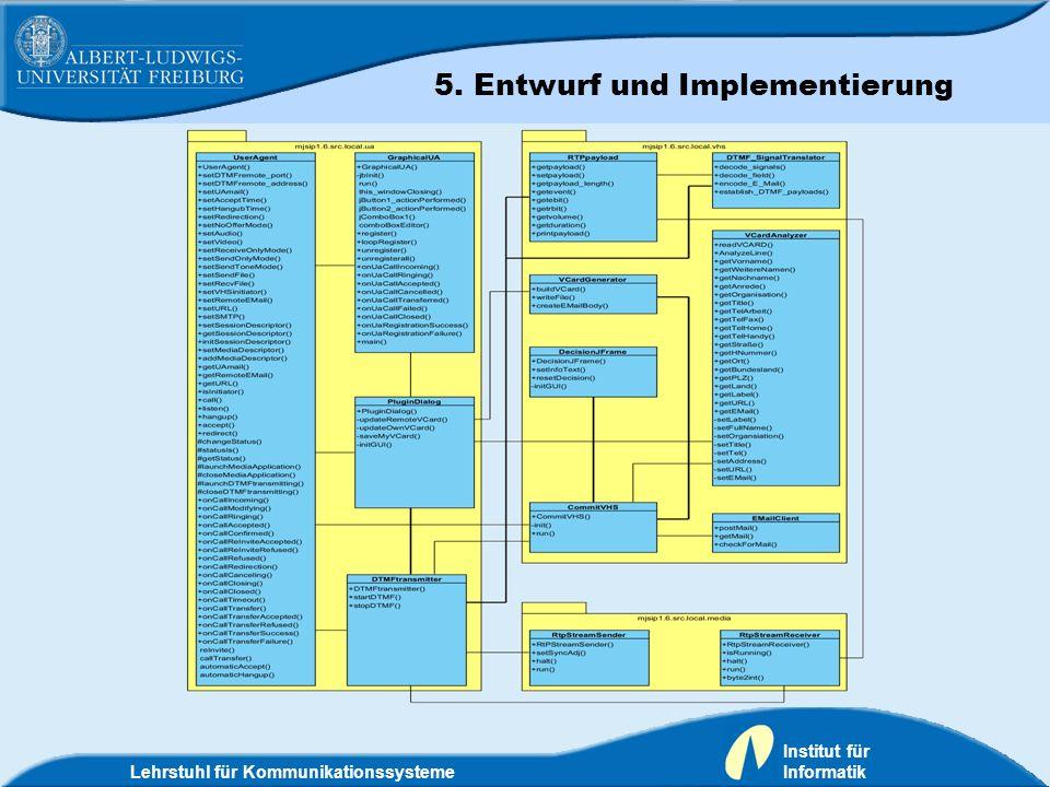 Lehrstuhl für Kommunikationssysteme Institut für Informatik 5. Entwurf und Implementierung