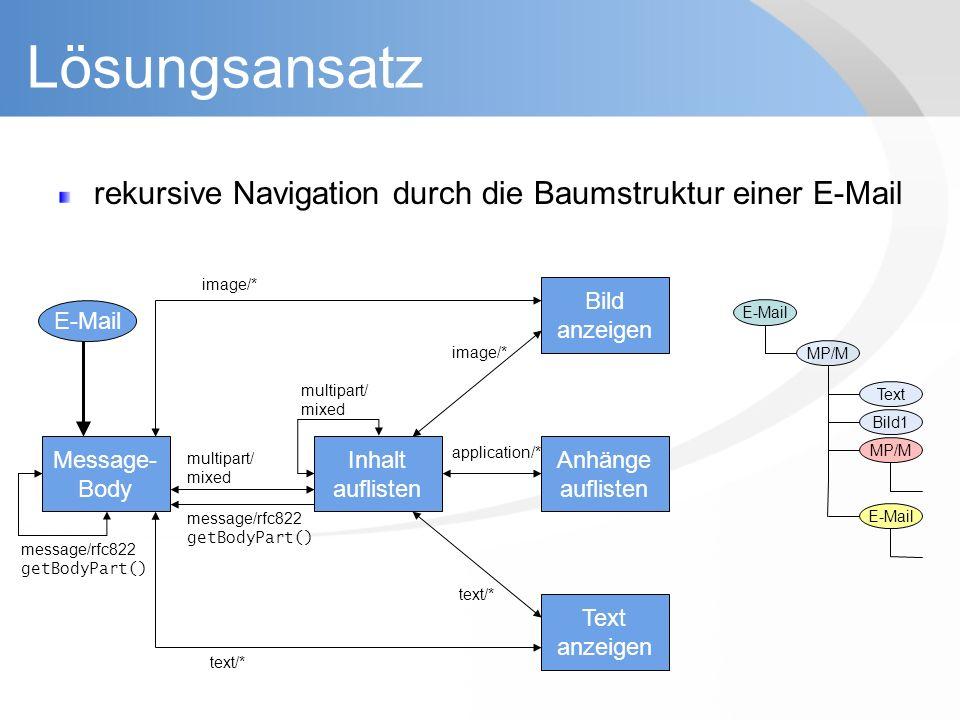 Lösungsansatz rekursive Navigation durch die Baumstruktur einer E-Mail Inhalt auflisten Bild anzeigen Anhänge auflisten Text anzeigen image/* text/* a