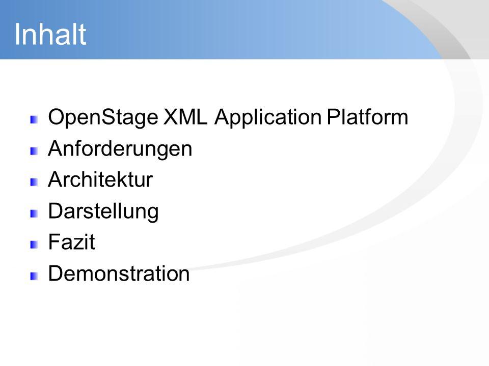 Inhalt OpenStage XML Application Platform Anforderungen Architektur Darstellung Fazit Demonstration