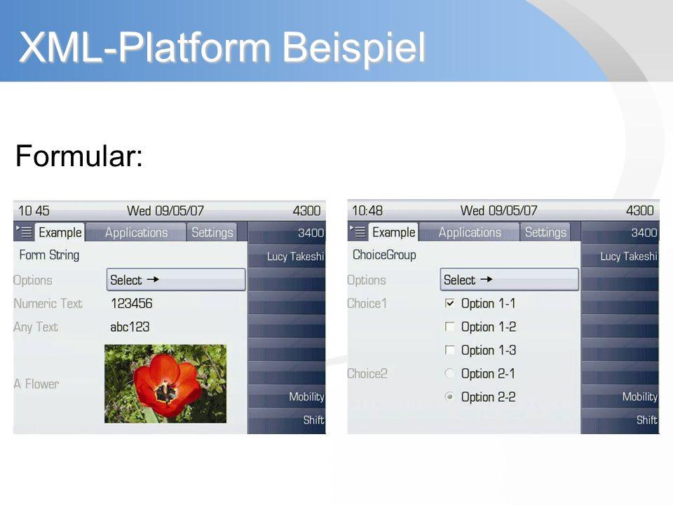 XML-Platform Beispiel Formular: