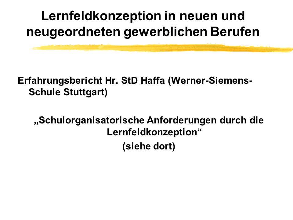 Lernfeldkonzeption in neuen und neugeordneten gewerblichen Berufen Erfahrungsbericht Hr.