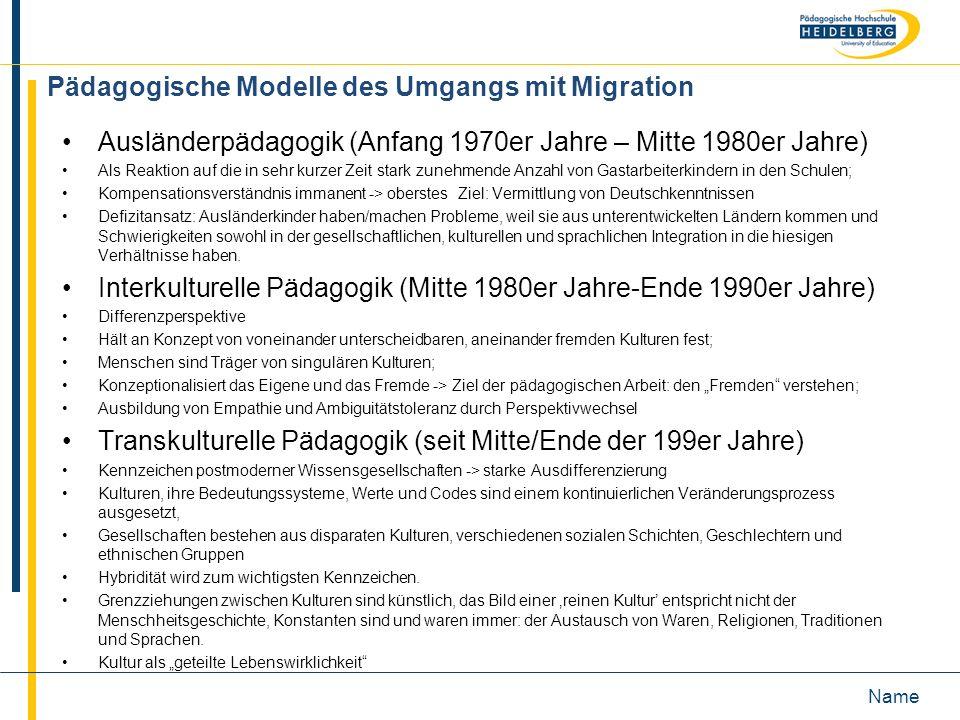 Name Pädagogische Modelle des Umgangs mit Migration Ausländerpädagogik (Anfang 1970er Jahre – Mitte 1980er Jahre) Als Reaktion auf die in sehr kurzer