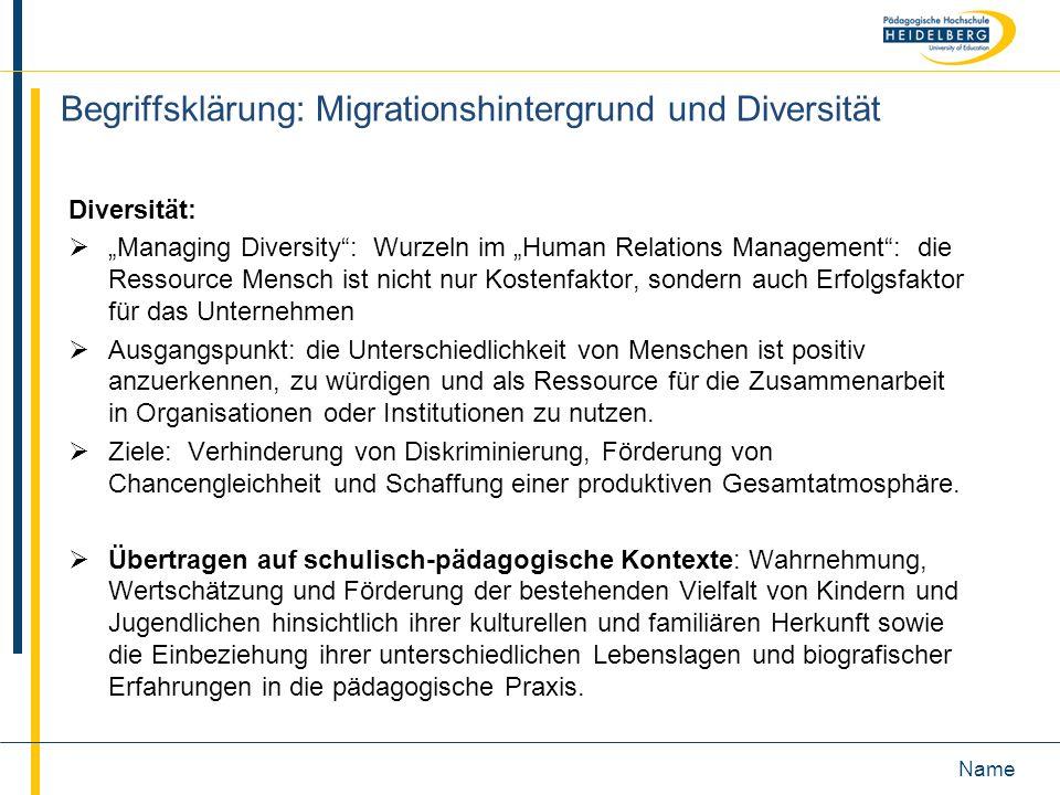 Name Begriffsklärung: Migrationshintergrund und Diversität Diversität: Managing Diversity: Wurzeln im Human Relations Management: die Ressource Mensch