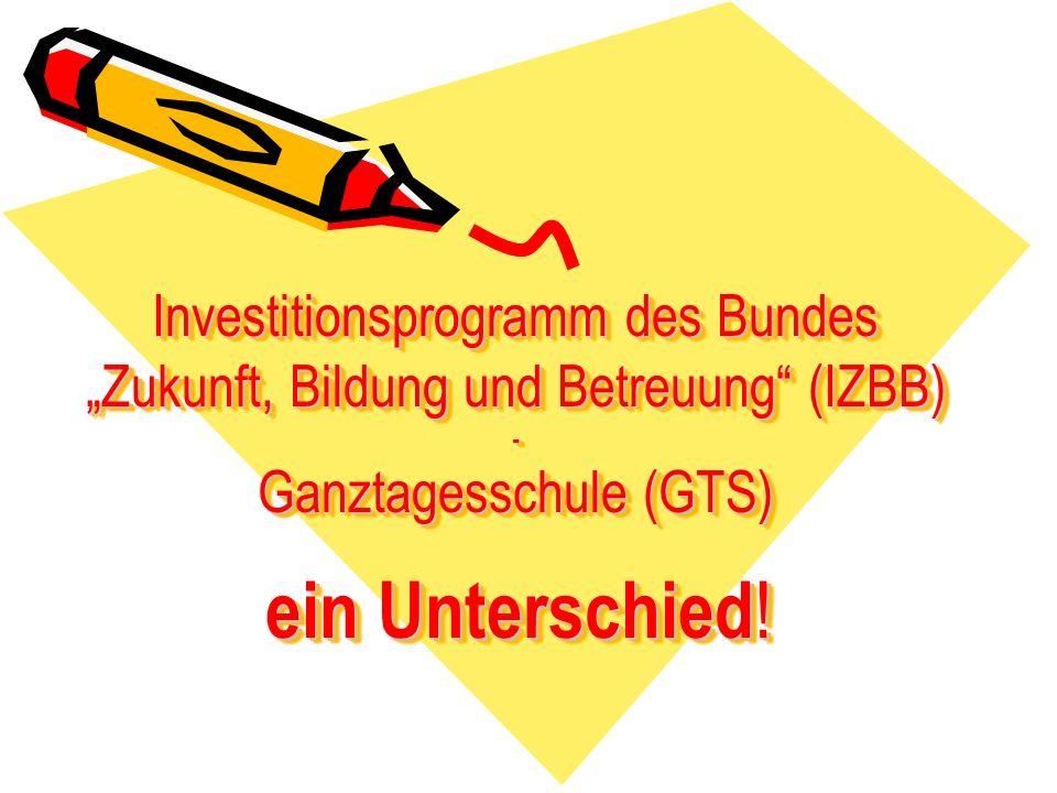 Investitionsprogramm des Bundes Zukunft, Bildung und Betreuung (IZBB) - Ganztagesschule (GTS) ein Unterschied !