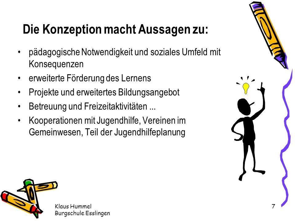 Klaus Hummel Burgschule Esslingen 7 pädagogische Notwendigkeit und soziales Umfeld mit Konsequenzen erweiterte Förderung des Lernens Projekte und erweitertes Bildungsangebot Betreuung und Freizeitaktivitäten...