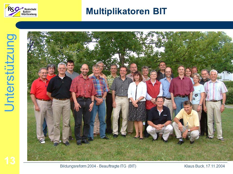 Unterstützung Klaus Buck, 17.11.2004Bildungsreform 2004 - Beauftragte ITG (BIT) 13 Multiplikatoren BIT