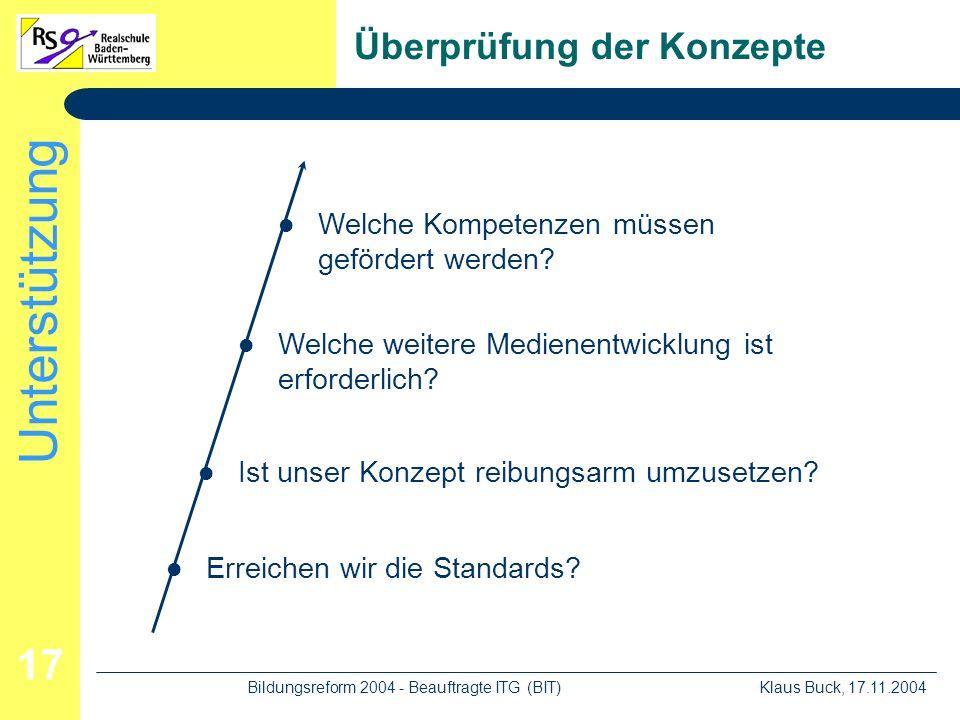 Unterstützung Klaus Buck, 17.11.2004Bildungsreform 2004 - Beauftragte ITG (BIT) 17 Überprüfung der Konzepte Erreichen wir die Standards.