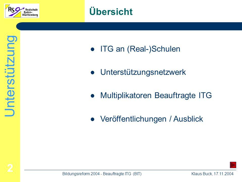 Unterstützung Klaus Buck, 17.11.2004Bildungsreform 2004 - Beauftragte ITG (BIT) 2 Übersicht ITG an (Real-)Schulen Unterstützungsnetzwerk Multiplikatoren Beauftragte ITG Veröffentlichungen / Ausblick