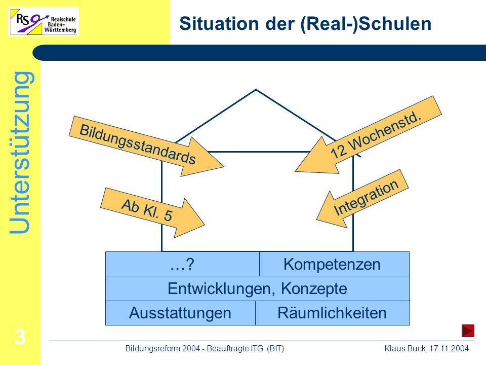 Unterstützung Klaus Buck, 17.11.2004Bildungsreform 2004 - Beauftragte ITG (BIT) 3 Situation der (Real-)Schulen Räumlichkeiten Kompetenzen Ausstattungen ….