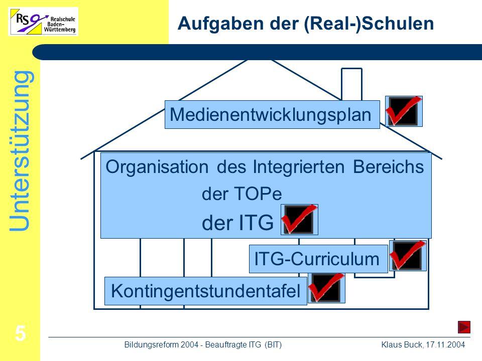 Unterstützung Klaus Buck, 17.11.2004Bildungsreform 2004 - Beauftragte ITG (BIT) 5 Aufgaben der (Real-)Schulen KontingentstundentafelITG-Curriculum Organisation des Integrierten Bereichs der TOPe der ITG Medienentwicklungsplan