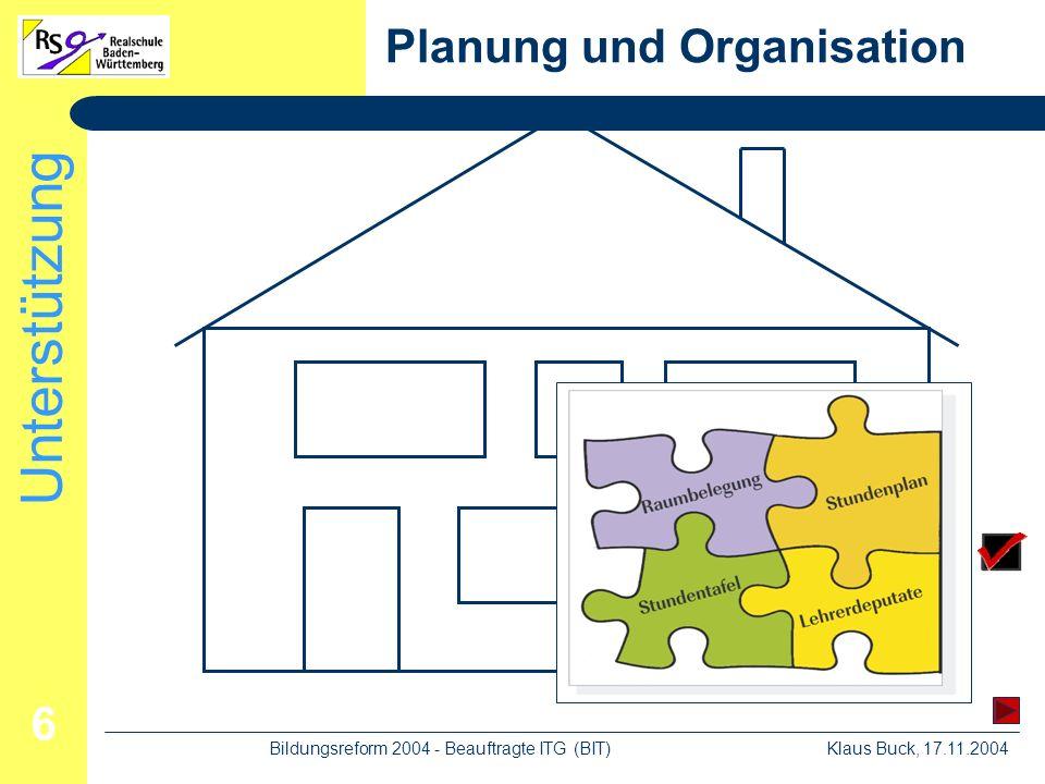 Unterstützung Klaus Buck, 17.11.2004Bildungsreform 2004 - Beauftragte ITG (BIT) 6 Planung und Organisation
