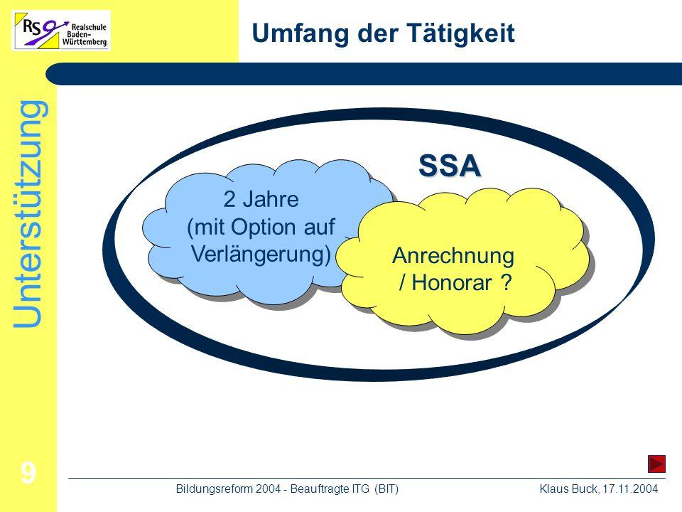 Unterstützung Klaus Buck, 17.11.2004Bildungsreform 2004 - Beauftragte ITG (BIT) 9 Umfang der Tätigkeit 2 Jahre (mit Option auf Verlängerung) Anrechnung / Honorar .