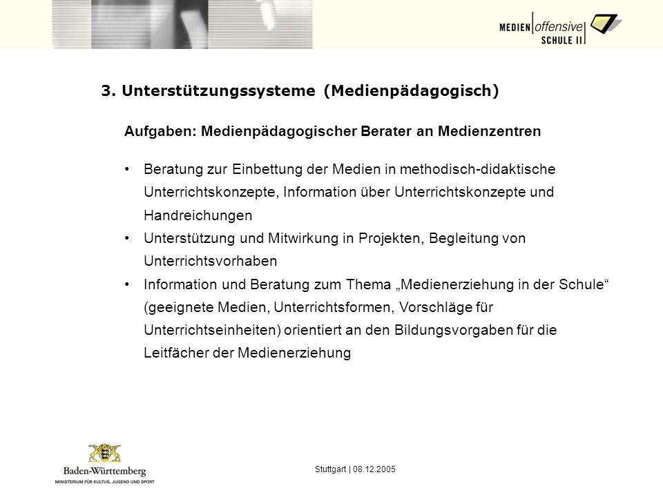 Stuttgart | 08.12.2005 3. Unterstützungssysteme (Medienpädagogisch) Aufgaben: Medienpädagogischer Berater an Medienzentren Beratung zur Einbettung der