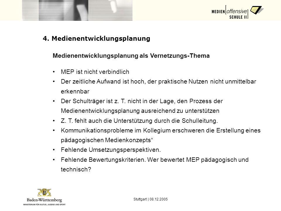 Stuttgart | 08.12.2005 4. Medienentwicklungsplanung Medienentwicklungsplanung als Vernetzungs-Thema MEP ist nicht verbindlich Der zeitliche Aufwand is