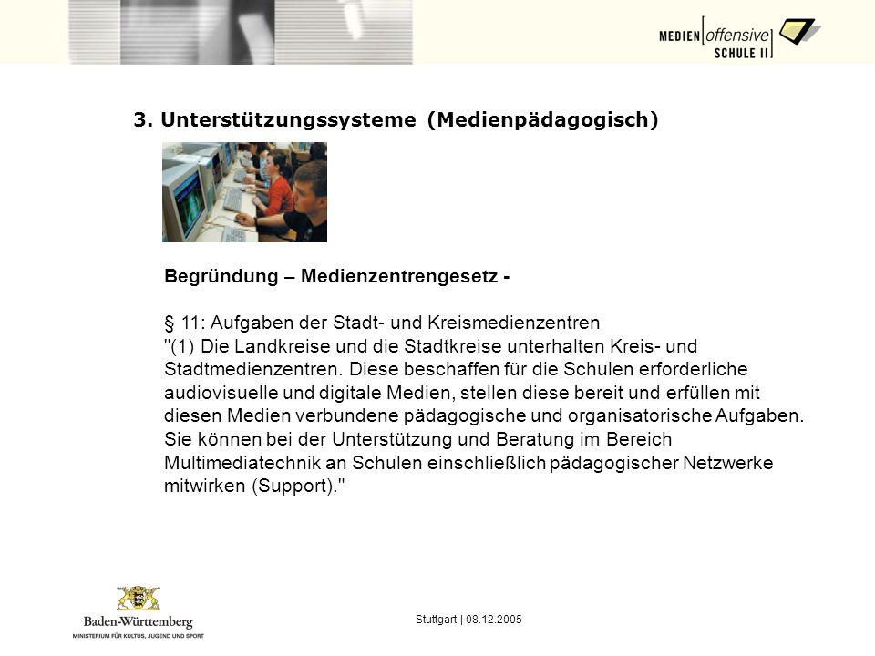 Stuttgart | 08.12.2005 3. Unterstützungssysteme (Medienpädagogisch) Begründung – Medienzentrengesetz - § 11: Aufgaben der Stadt- und Kreismedienzentre