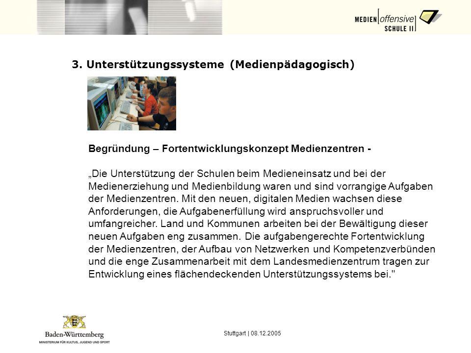 Stuttgart | 08.12.2005 3. Unterstützungssysteme (Medienpädagogisch) Begründung – Fortentwicklungskonzept Medienzentren - Die Unterstützung der Schulen