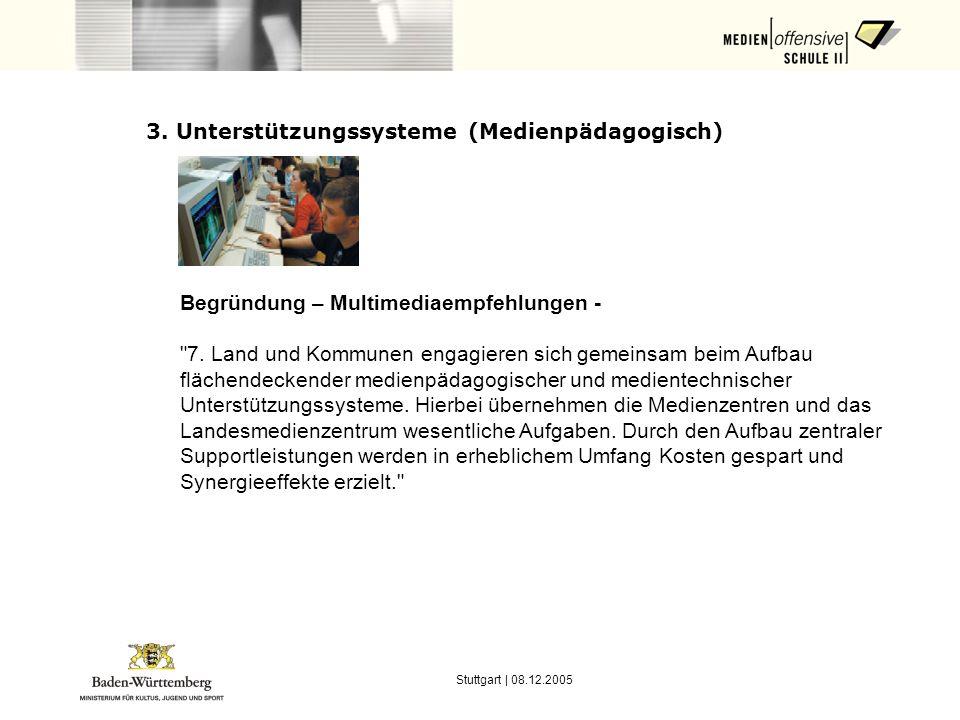 Stuttgart | 08.12.2005 3. Unterstützungssysteme (Medienpädagogisch) Begründung – Multimediaempfehlungen -