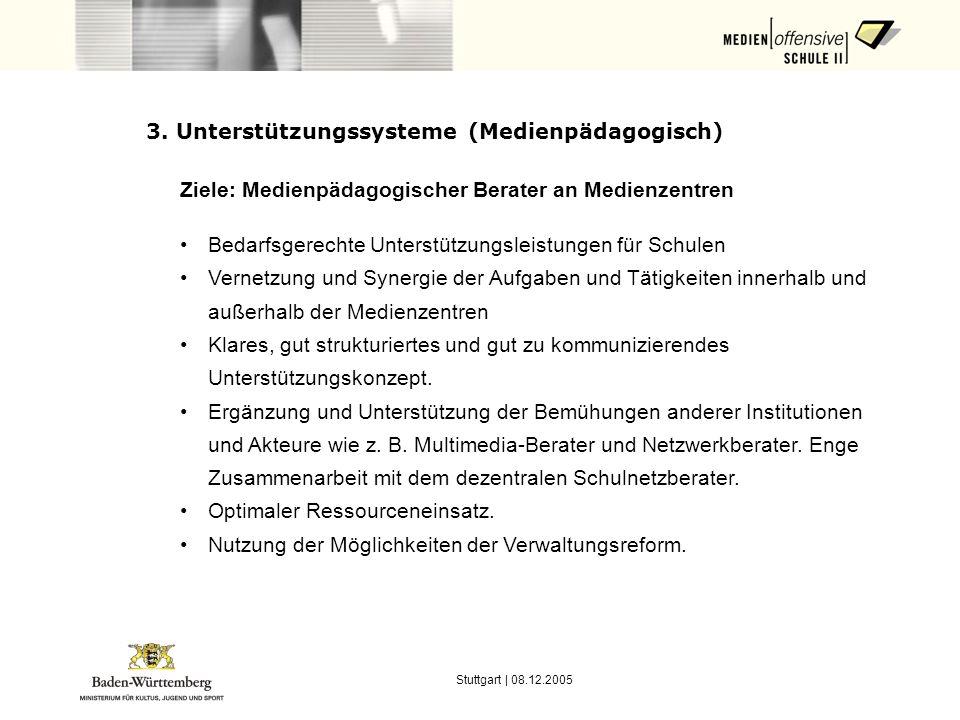 Stuttgart | 08.12.2005 3. Unterstützungssysteme (Medienpädagogisch) Ziele: Medienpädagogischer Berater an Medienzentren Bedarfsgerechte Unterstützungs