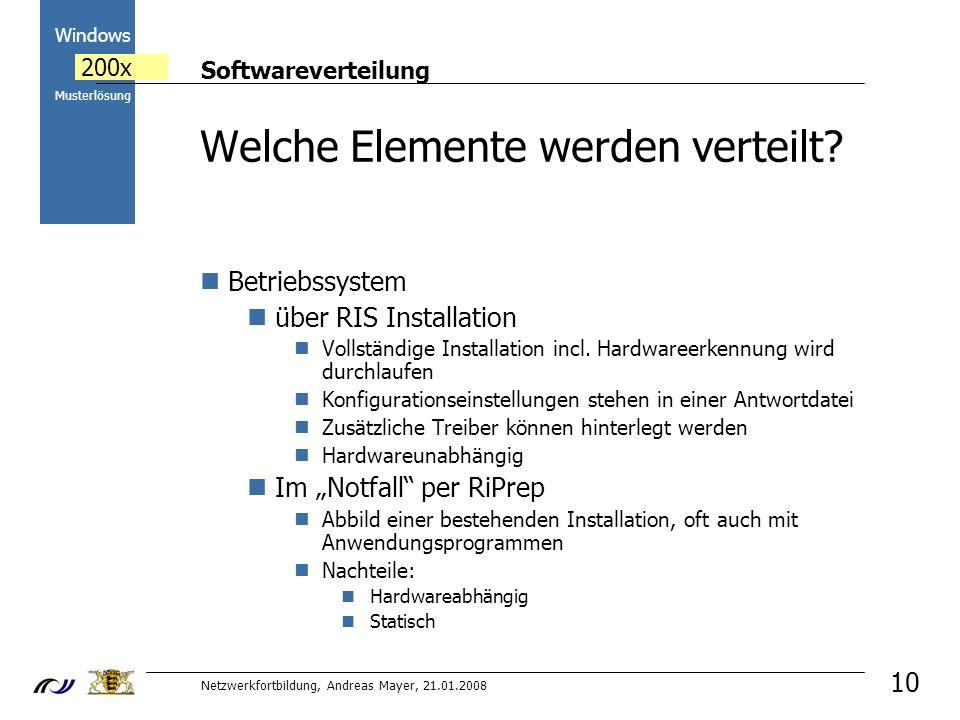 Softwareverteilung Netzwerkfortbildung, Andreas Mayer, 21.01.2008 2000 Windows 200x Musterlösung 10 Welche Elemente werden verteilt.