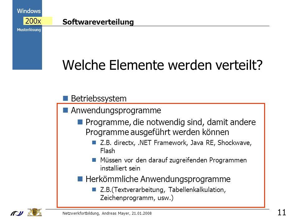 Softwareverteilung Netzwerkfortbildung, Andreas Mayer, 21.01.2008 2000 Windows 200x Musterlösung 11 Welche Elemente werden verteilt.