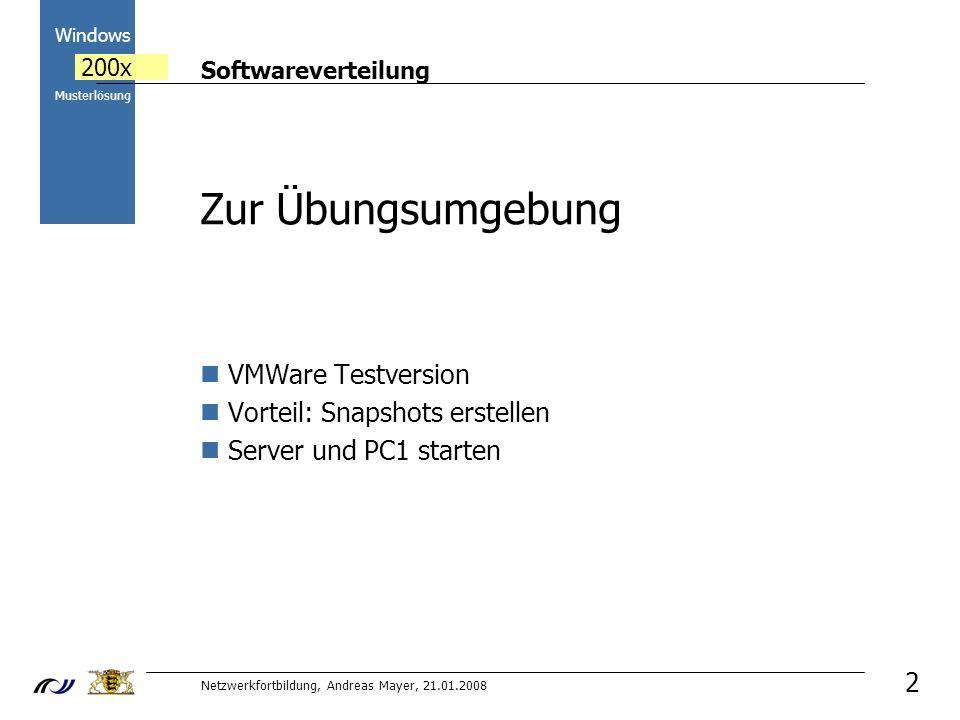 Softwareverteilung Netzwerkfortbildung, Andreas Mayer, 21.01.2008 2000 Windows 200x Musterlösung 3 Ziele Grundlegende Informationen zum Thema Softwareinstallation in einem Netzwerk Verschiedene Möglichkeiten der Softwareverteilung in der paedML Sinnvolle Struktur des ActiveDirectorys zur Softwareverwaltung Verteilung von msi Paketen durchführen Deinstallation von Software Mit WinInstall LE eigene msi Pakete erstellen Alternativen zur Verteilung mit Wininstall LE/msi kennen lernen
