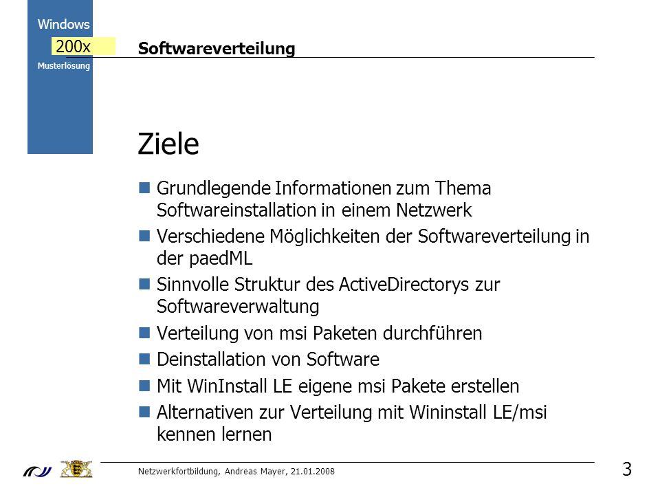 Softwareverteilung Netzwerkfortbildung, Andreas Mayer, 21.01.2008 2000 Windows 200x Musterlösung 4 PGMAdmin zur Softwareinstallation Programminstallationen immer als PGMAdmin durchführen Lokale Administratorrechte auf den Clients, nicht in der Domäne Laufwerk K: für z.B.