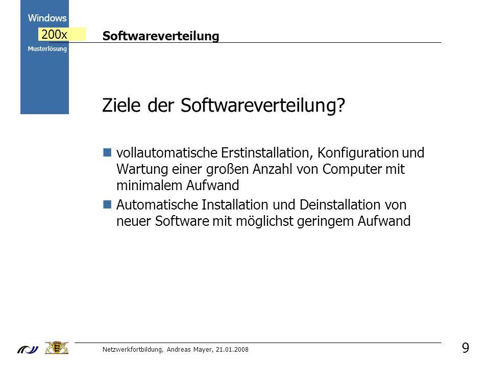 Softwareverteilung Netzwerkfortbildung, Andreas Mayer, 21.01.2008 2000 Windows 200x Musterlösung 20 Übung 5 Deinstallation Tippfix MSI Paket muss so lang auf dem Server belassen werden, bis alle PCs das Programm deinstalliert haben