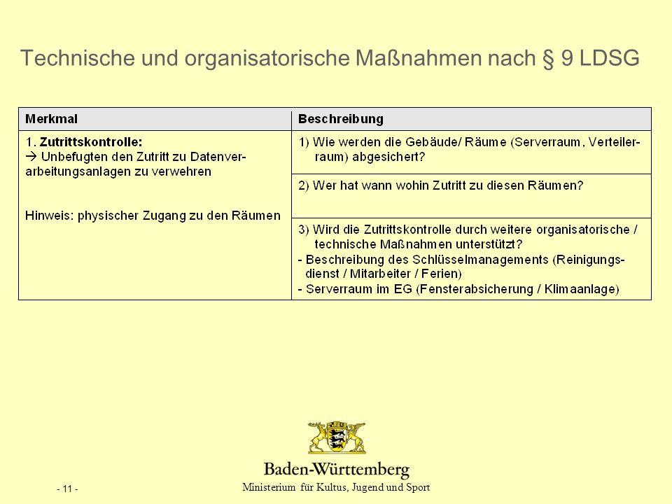 - 11 - Technische und organisatorische Ma ß nahmen nach § 9 LDSG