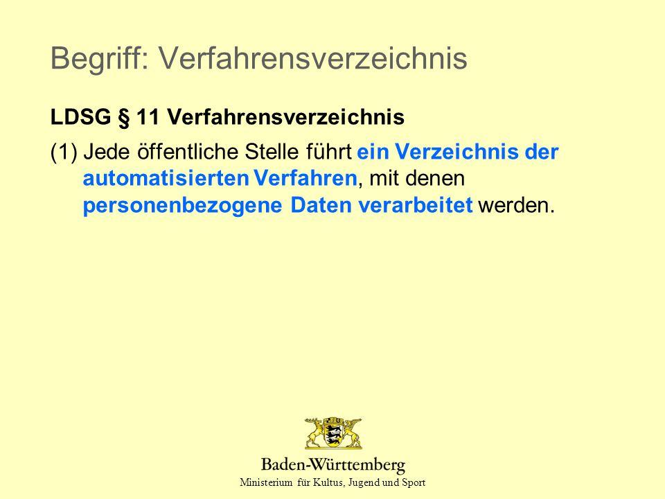 Ministerium für Kultus, Jugend und Sport Begriff: Verfahrensverzeichnis LDSG § 11 Verfahrensverzeichnis (1) Jede öffentliche Stelle führt ein Verzeich