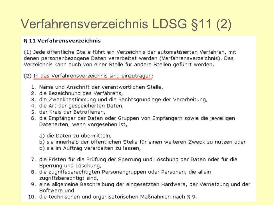 Ministerium für Kultus, Jugend und Sport Verfahrensverzeichnis LDSG §11 (2)